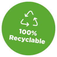 100% recyclable packaging
